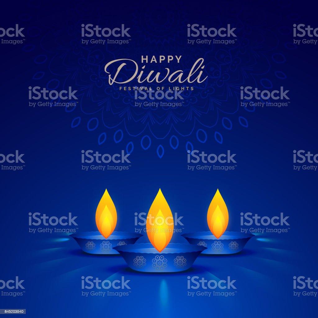 illustration of burning diya on blue background for happy diwali celebration vector art illustration