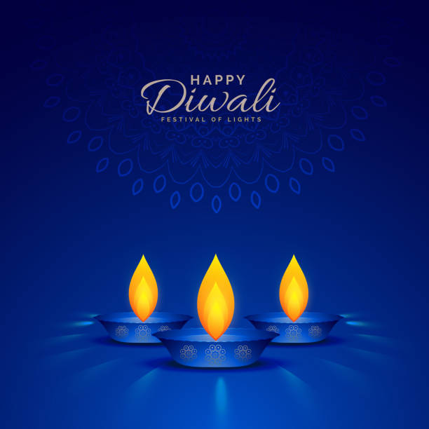 illustration of burning diya on blue background for happy diwali celebration - diwali stock illustrations, clip art, cartoons, & icons