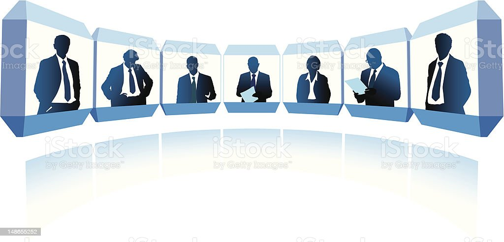 A illustration of business people at a video conference royalty-free stock vector art