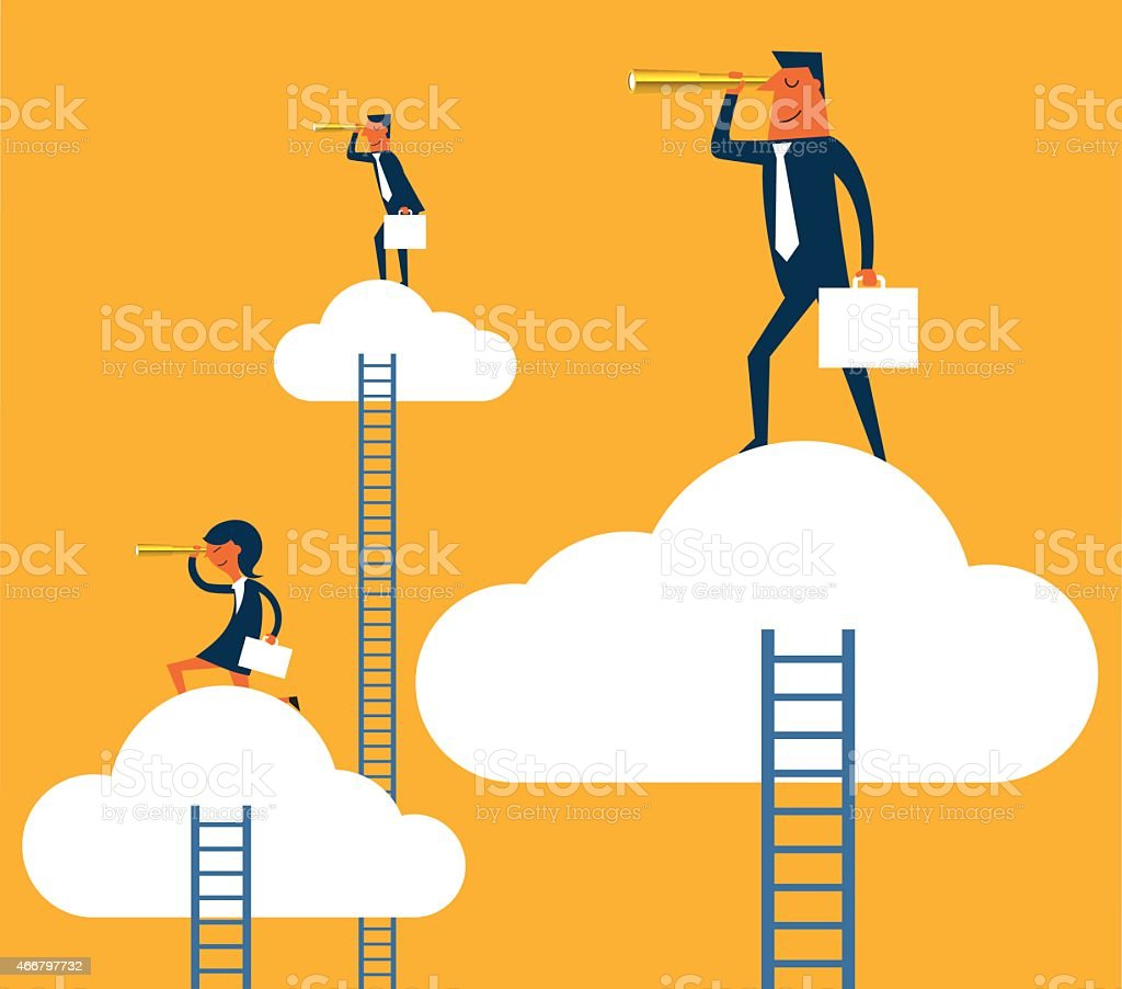 Illustration of business people looking for opportunities vector art illustration