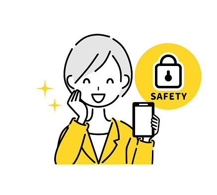 Illustration of business woman and mobile security.