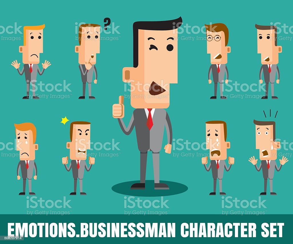 Illustration of  businessman faces showing different emotions fl vector art illustration