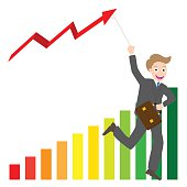 Illustration of businessman running with business arrow wave kite chart