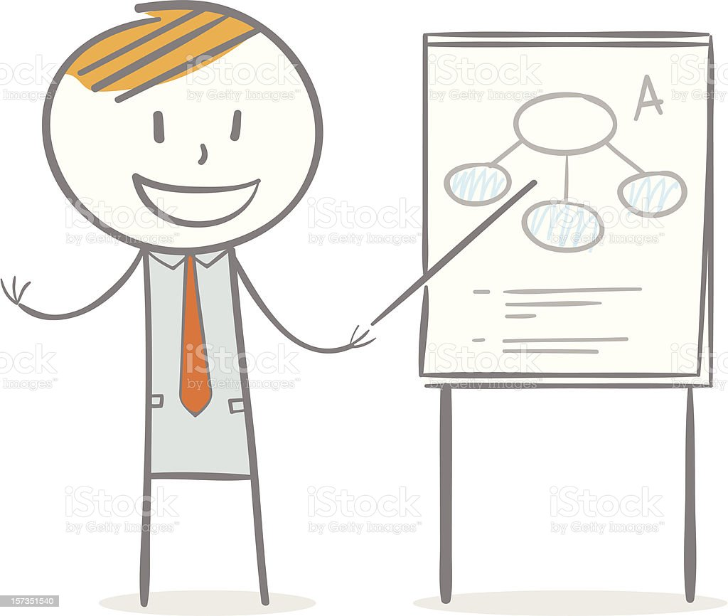 Illustration of businessman with paperboard royalty-free stock vector art