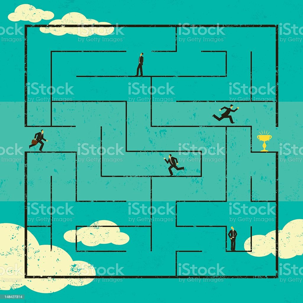 Illustration of businessmen stuck in a maze in the sky royalty-free illustration of businessmen stuck in a maze in the sky stock vector art & more images of achievement