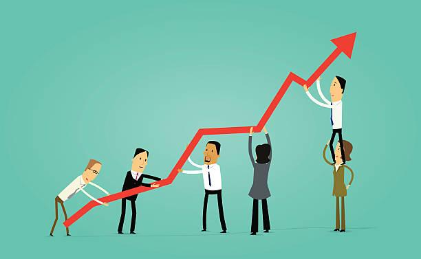 Illustration of businessmen working as a team vector art illustration