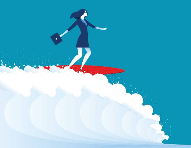illustration of businesswomen surfing. Concept business. Vector vector art illustration