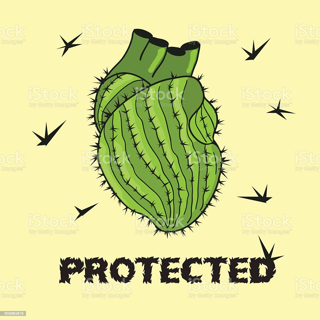 Illustration Of Cactus Heart Stock Vector Art & More Images of ...