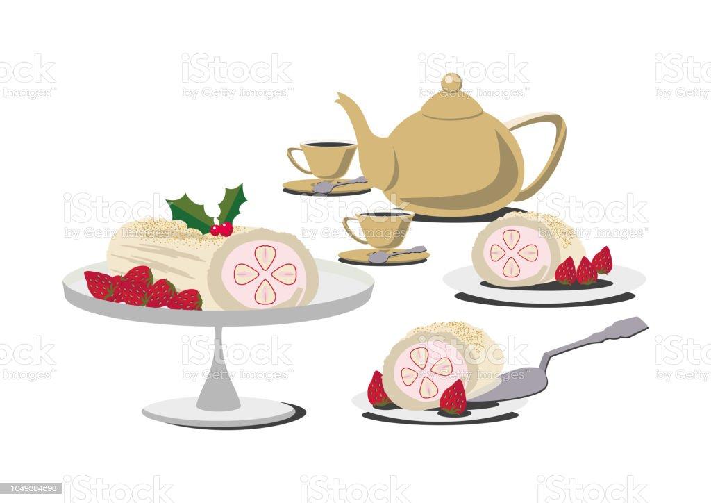 Illustration Von Kaffee Und Kuchen Illustration Von Kuchen Und Tee