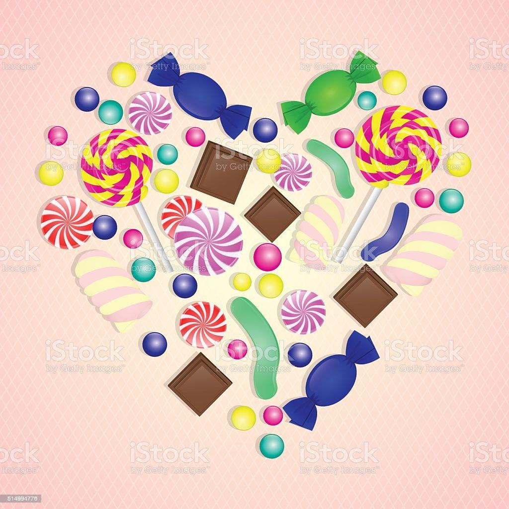 Illustration of candy heart on pink background. vector art illustration