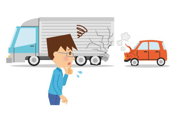 bildbanksillustrationer, clip art samt tecknat material och ikoner med illustration av bilolycka. - krockad bil