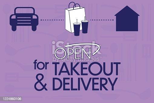 Illustration of car delivering food to a home