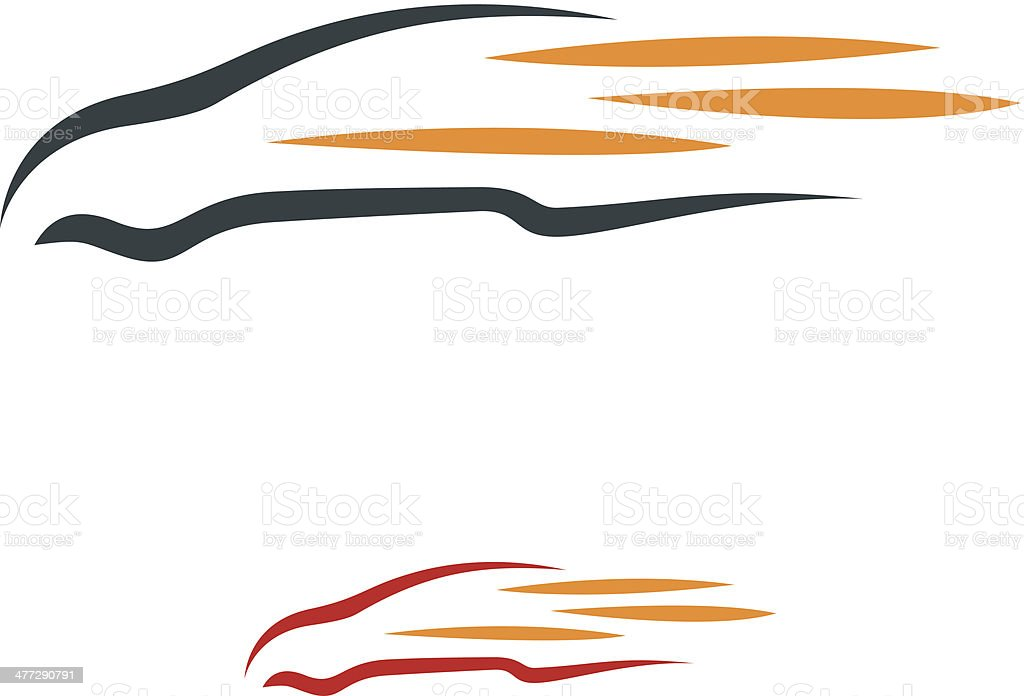 Illustration of car speed with flames logo vector art illustration