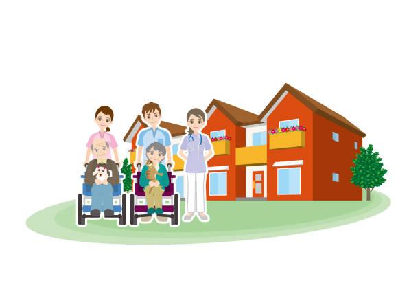 illustration of care for the elderly - проживание с уходом stock illustrations