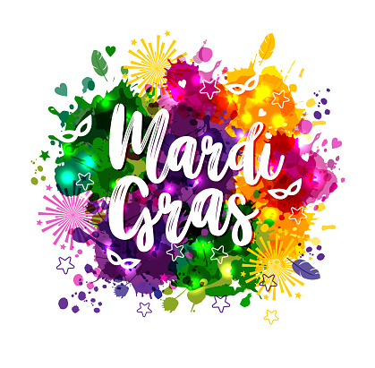 Illustration of Carnival Mardi Gras on multicolors watercolor stains,colors of the Mardi Gras. Carnival,watercolor paints.
