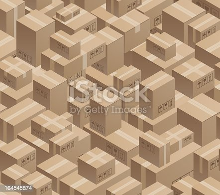 Illustration of cartons and boxes stacked in a warehouse