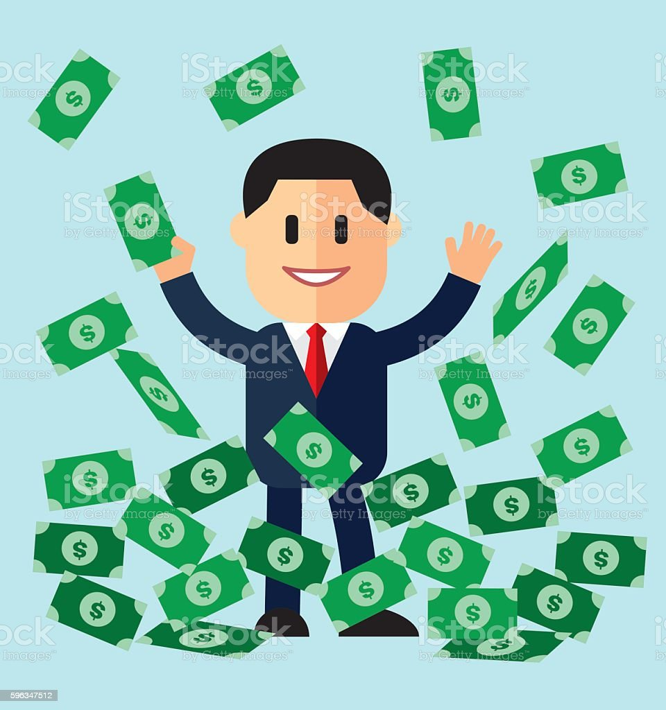 illustration of cartoon businessman on pile of money cash in jackpot royalty-free illustration of cartoon businessman on pile of money cash in jackpot stock vector art & more images of adult