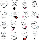 illustration of cartoon faces on a white background - many facial expressions