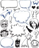 Speech bubbles and faces. Doodle style