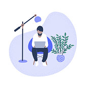 istock Illustration of casual man using laptop computer at home 1296402674