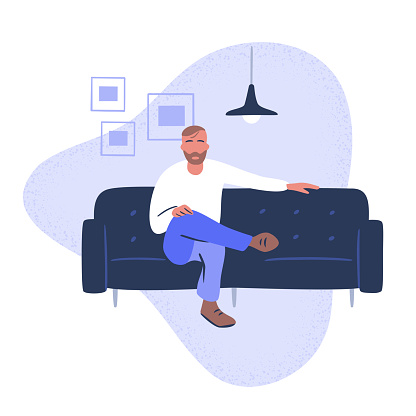 Illustration of casual young man seated on stylish couch