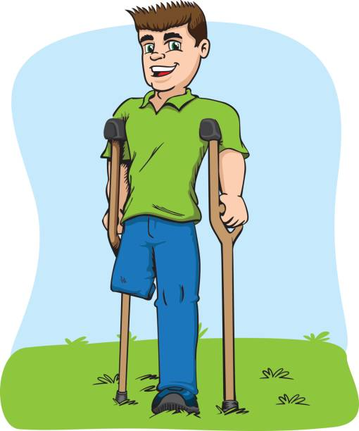 Illustration of caucasian mascot, one-legged and crutches. Ideal for medical and educational materials vector art illustration