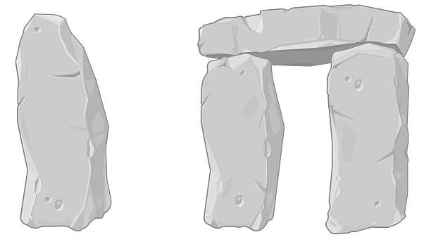 bildbanksillustrationer, clip art samt tecknat material och ikoner med illustration of certain sections of stonehenge - ancient white background