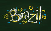 Illustration of chalked word Brazil