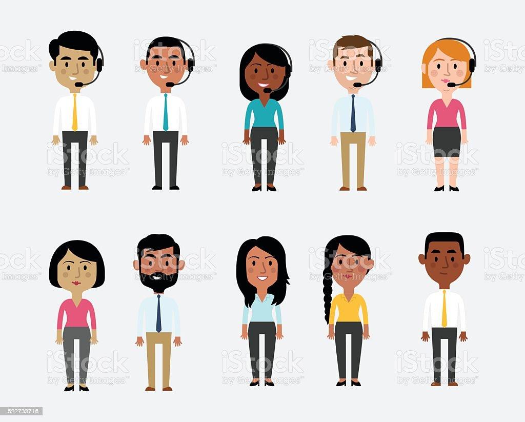 Ilustración de caracteres que representan oficina profesiones - ilustración de arte vectorial