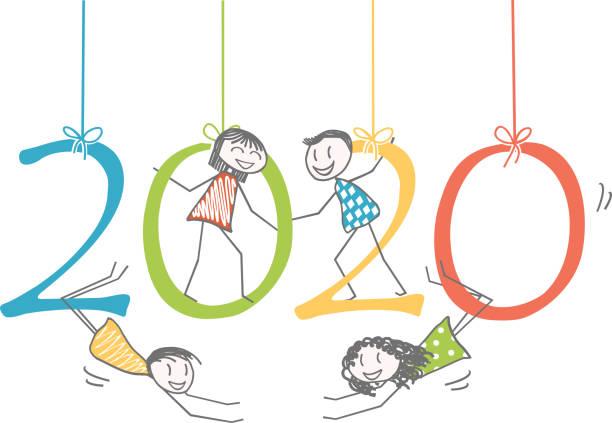 abbildung der zeichen auf der zahl 2020 für das neue jahr - wunschkinder stock-grafiken, -clipart, -cartoons und -symbole
