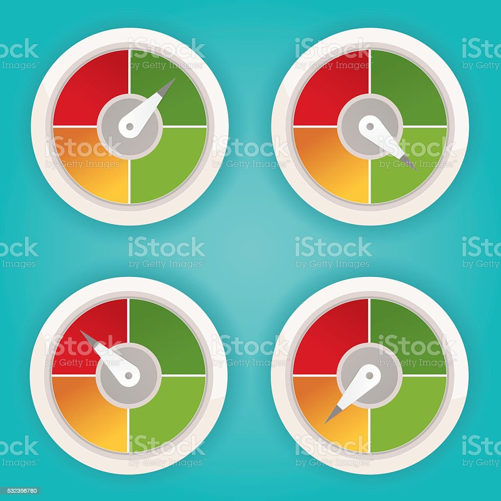 Illustration Of Chart Meter Elements Colorful Infographic