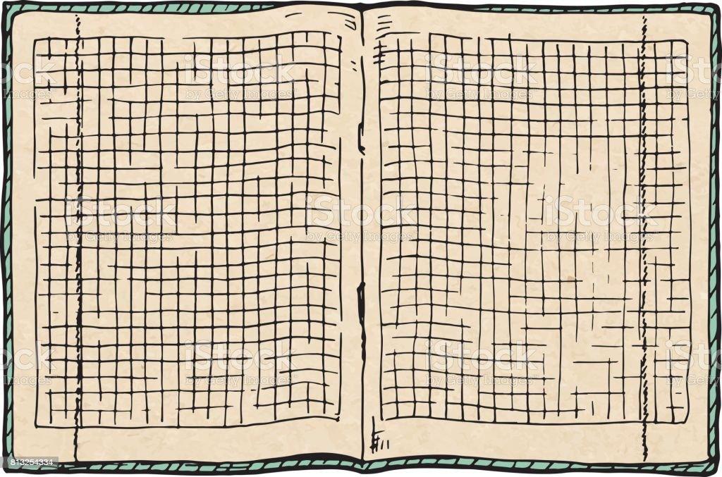 illustration of  checkered notebook vector art illustration