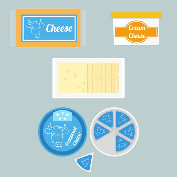 illustration der käse im paket - vakuumverpackung stock-grafiken, -clipart, -cartoons und -symbole
