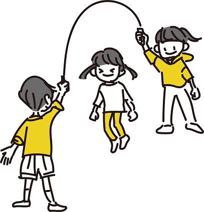 Illustration of children jumping rope