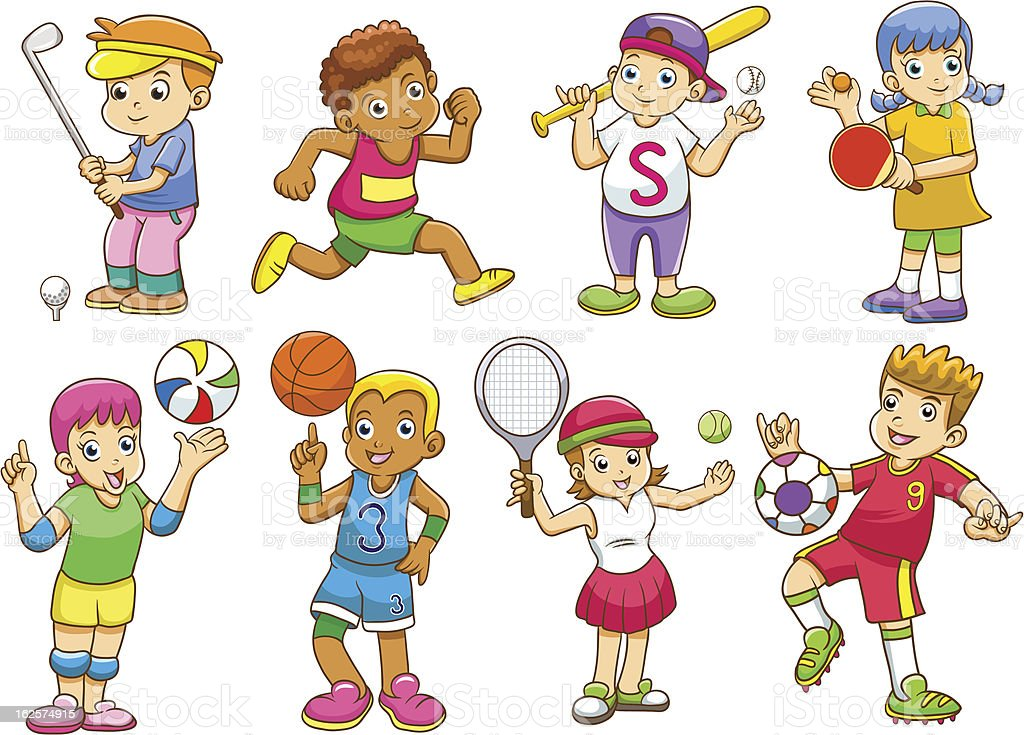 Kids Sports Cartoon: Illustration Of Children Playing Different Sports Stock