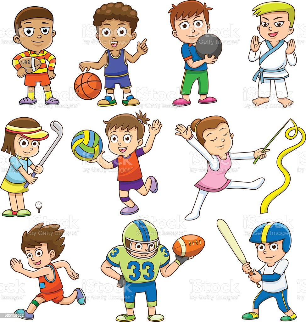 playing sports illustration children different vector illustrations cartoon sport clip basketball play istock doing football activity american graphics