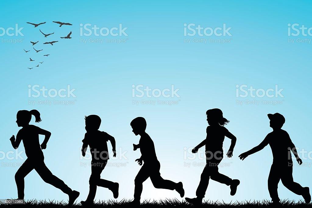 Illustration of children running outdoor vector art illustration