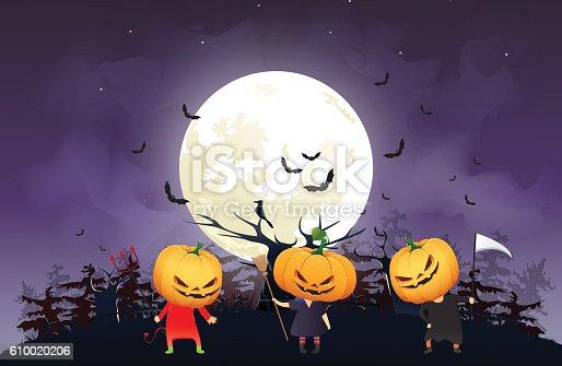 istock illustration of children trick or treating in Halloween costume 610020206
