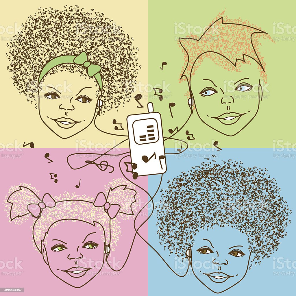 Illustration of children with player vector art illustration