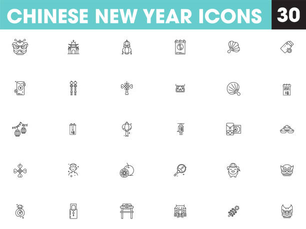 illustration of chinese new year icon set in black outline. - lunar new year stock illustrations