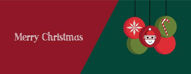 Illustration of Christmas banner, cover or greeting card with red and green elements vector art illustration