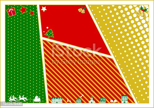 istock illustration of Christmas colored Comic strip and Christmas icons     layout frame 1312576430