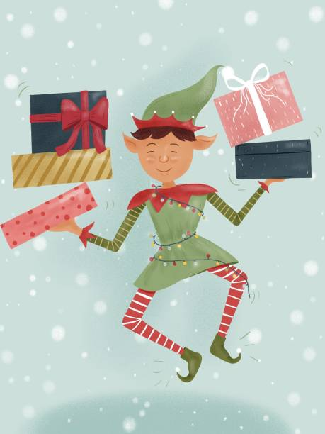 Illustration of Christmas Elf holding Santa Claus gifts vector art illustration