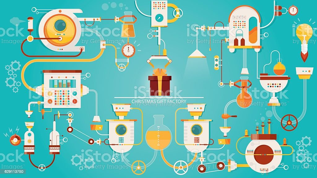 illustration of Christmas gifts factory. Industry of new year celebration vector art illustration