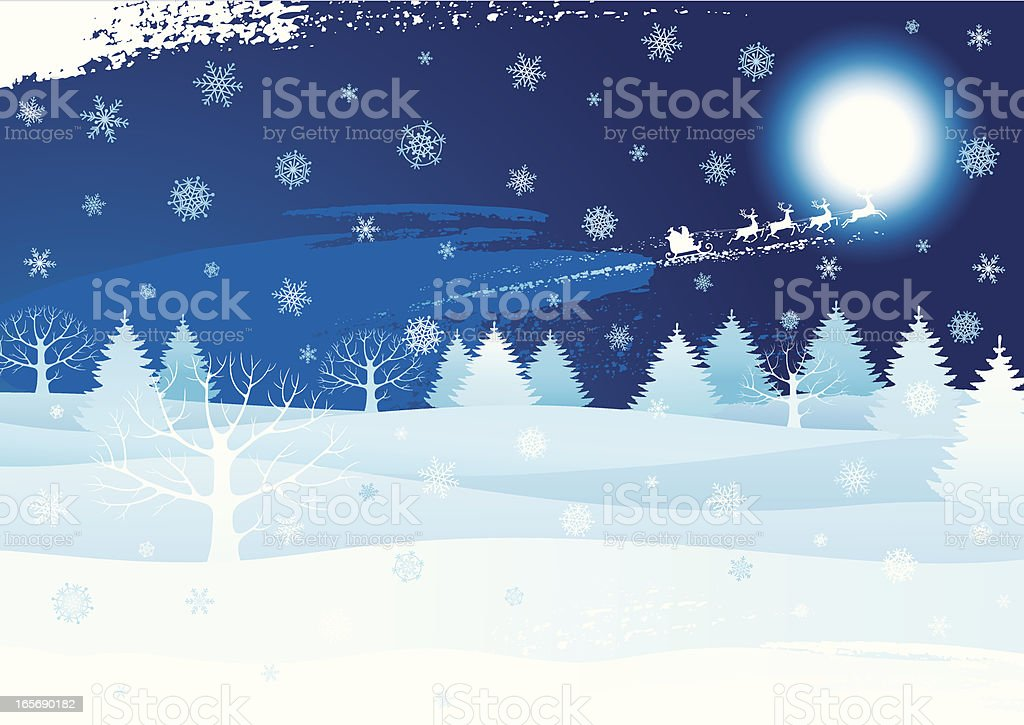 Illustration of Christmas night with Santa's sleigh in sky royalty-free stock vector art