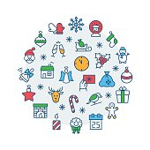 Illustration of Christmas set icons circle in flat style.
