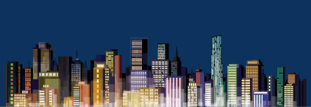 stockillustraties, clipart, cartoons en iconen met illustration of city skyline at night - mens gemaakte ruimtes