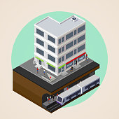 illustration of city street, building and subway or underground station