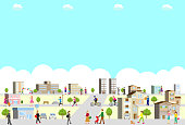 illustration of city,buildings and lifestyle people