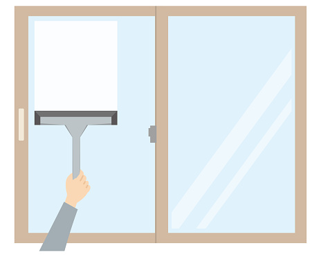 Illustration of cleaning a window wet with condensation with a wiper or squishy